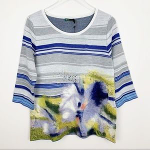 Anthropologie | Artsy Felted Stripe Sweater Floral
